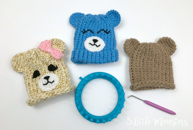 5 Little Monsters Embellished Loom Knit Hats Baby Bears