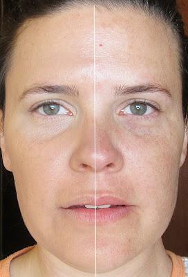 antes y despues de usar los productos de maquillaje de bella aurora