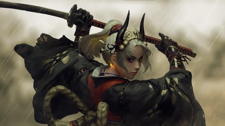 Fantasy, Warrior, Girl, Katana, Sword, 4K, #4.2432