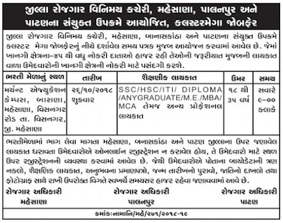 "District Employment Exchange Mehsana, Palanpur & Patan ""Cluster Mega Job Fair"" 2018"