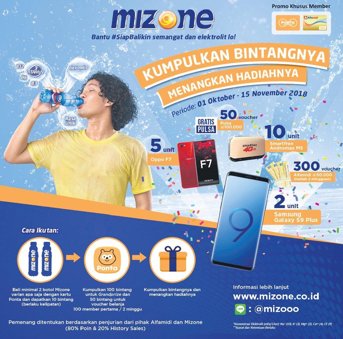 Alfamidi - Promo Mizone & Dapatkan Hadiahnya Pakai Kartu Ponta (s.d 15 Nov 2018)