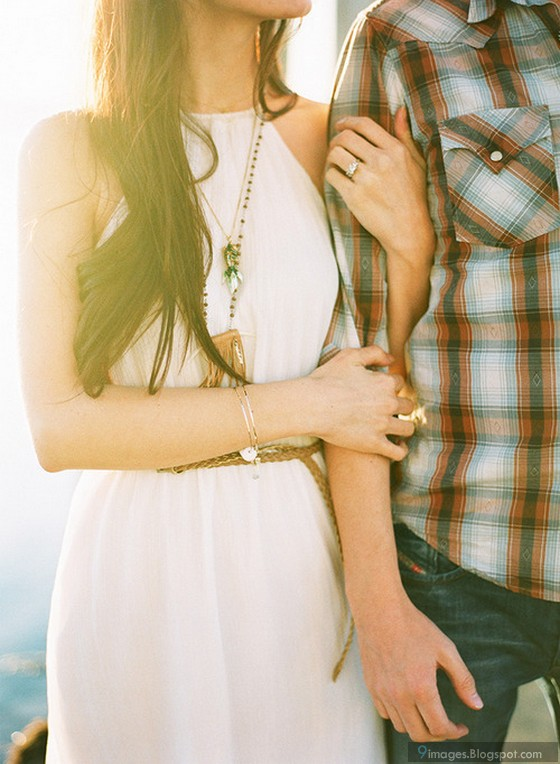 Beautiful Couple Sunset Girl Hold Boy Hand Cute