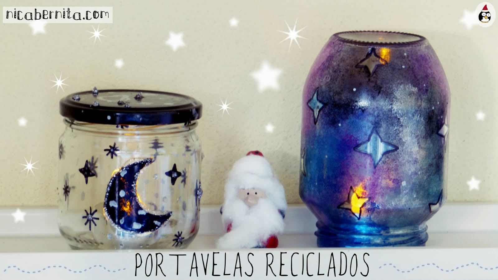 Diy Portavelas Con Botes De Cristal Manualidades Faciles Para - Manualidades-faciles-navidad-nios