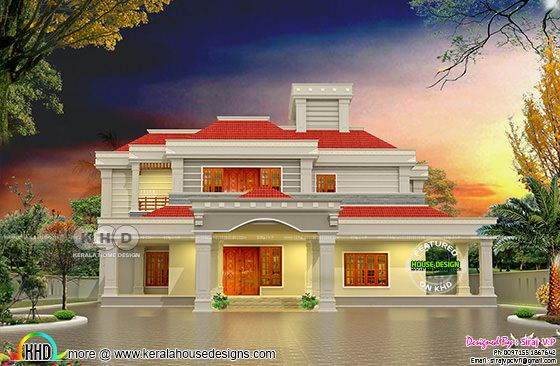 5 bedroom sloped roof house plan 325 sq M