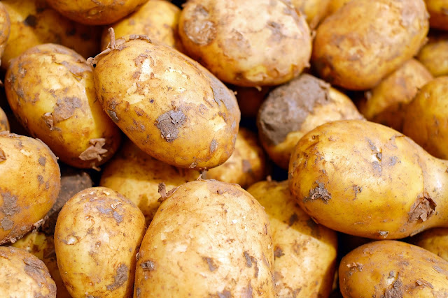 A stack of Jersey Royal new potatoes