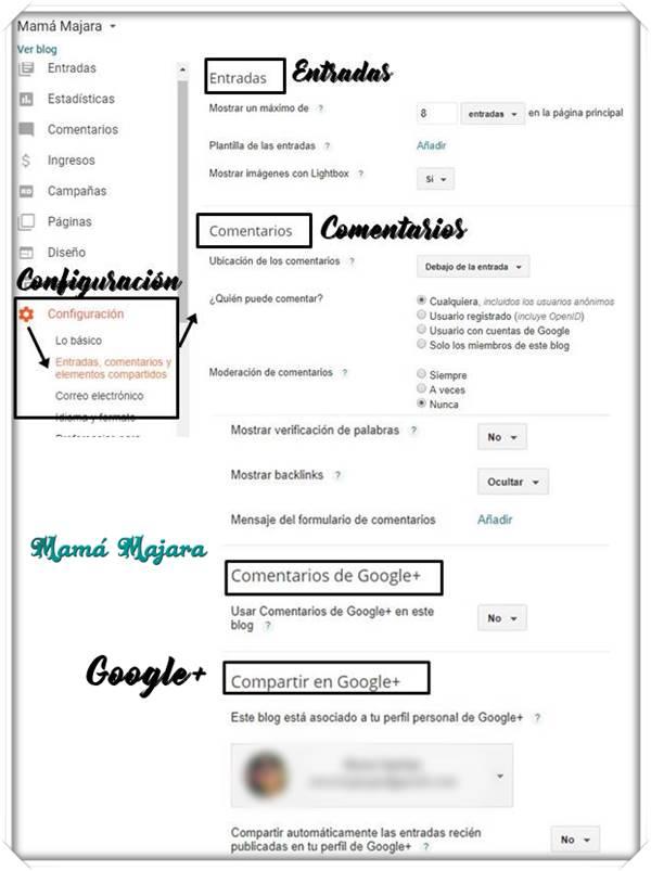 Sección Configuración Entradas Comentarios