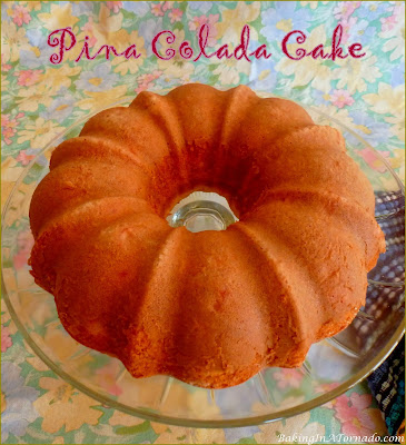 Pina Colada Cake, this quick and easy bunt cake has flavors that take you to the beach on a summer day. Mix, bake, glaze and you're done. | Recipe developed by www.BakingInATornado.com | #recipe #cake