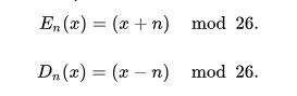 Caesar Cipher Algorithm Encryption and Decryption modular arithmetic equation