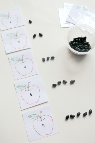 apple seed counting mats using black beans
