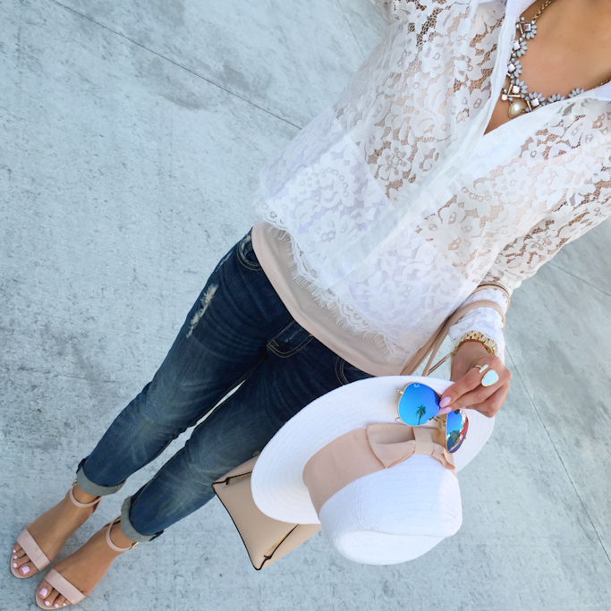 Vigoss jeans H&M white straw hat Ray-Ban mirrored sunglasses BP luminate sandals Sheinside cropped lace blouse