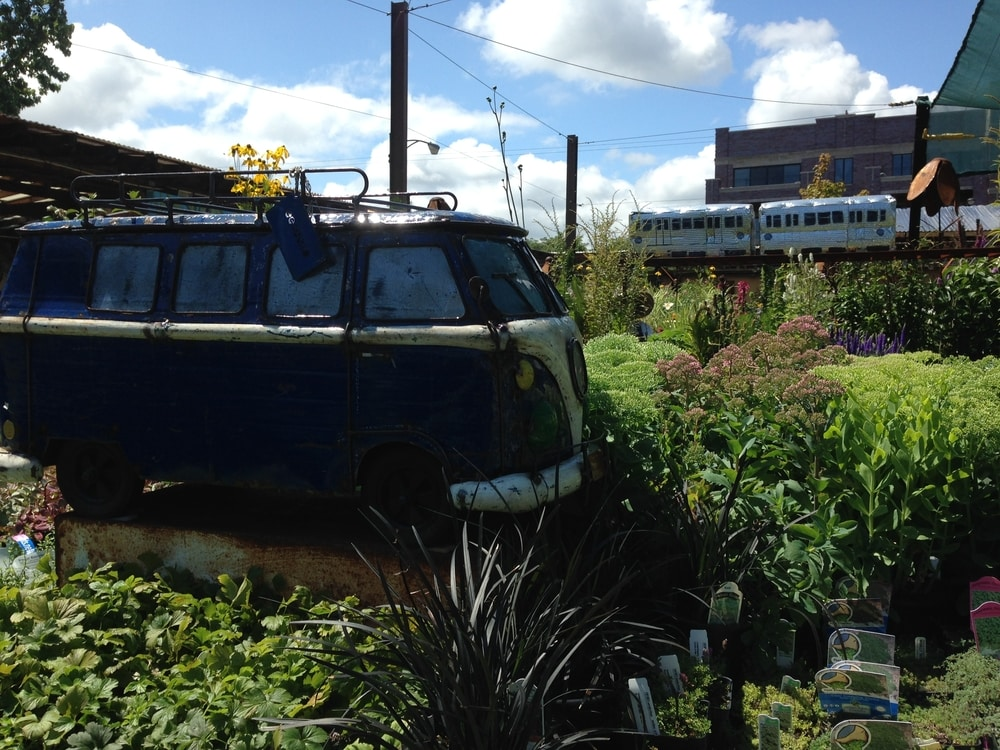 Gethsemane garden centre with train and VW campervan models as display features and lots of herbaceous perennial plants for sale