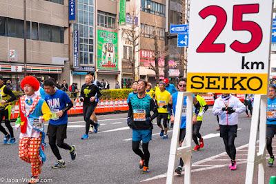 Seiko time keeping and runners at the Tokyo Marathon 2018, Asakusabashi, Tokyo, Japan.