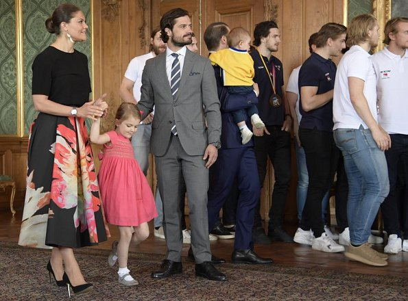Crown Princess Victoria, Princess Estelle, Prince Daniel, Prince Oscar and Prince Carl Philip met with the Sweden men's national ice hockey team