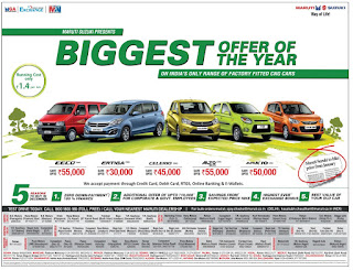 Zero down payment on Maruthi Suzuki cars | 100% on road funding | December 2016 festival discount offers |  Christmas festival offers