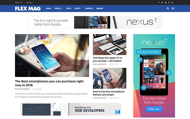 Flex mag responsive magazine blogger template