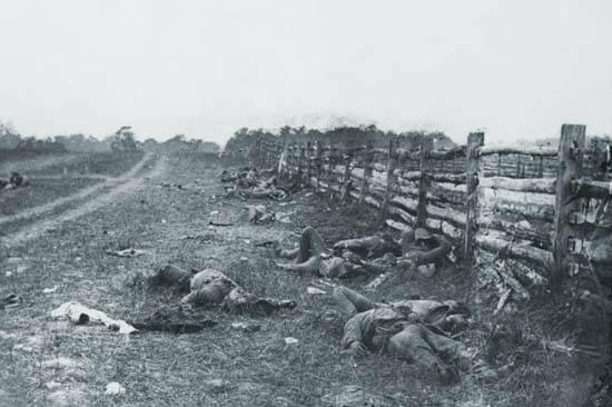 Confederado muerto por una cerca en el camino de Hagerstown, Antietam