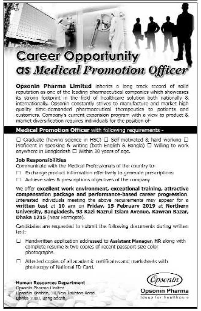 Opsonin  Pharma Limited Medical Promotion Officer (MPO) Job Circular 2019