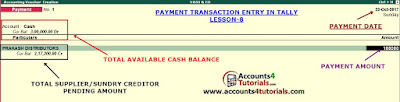 how to enter cash payment in tally
