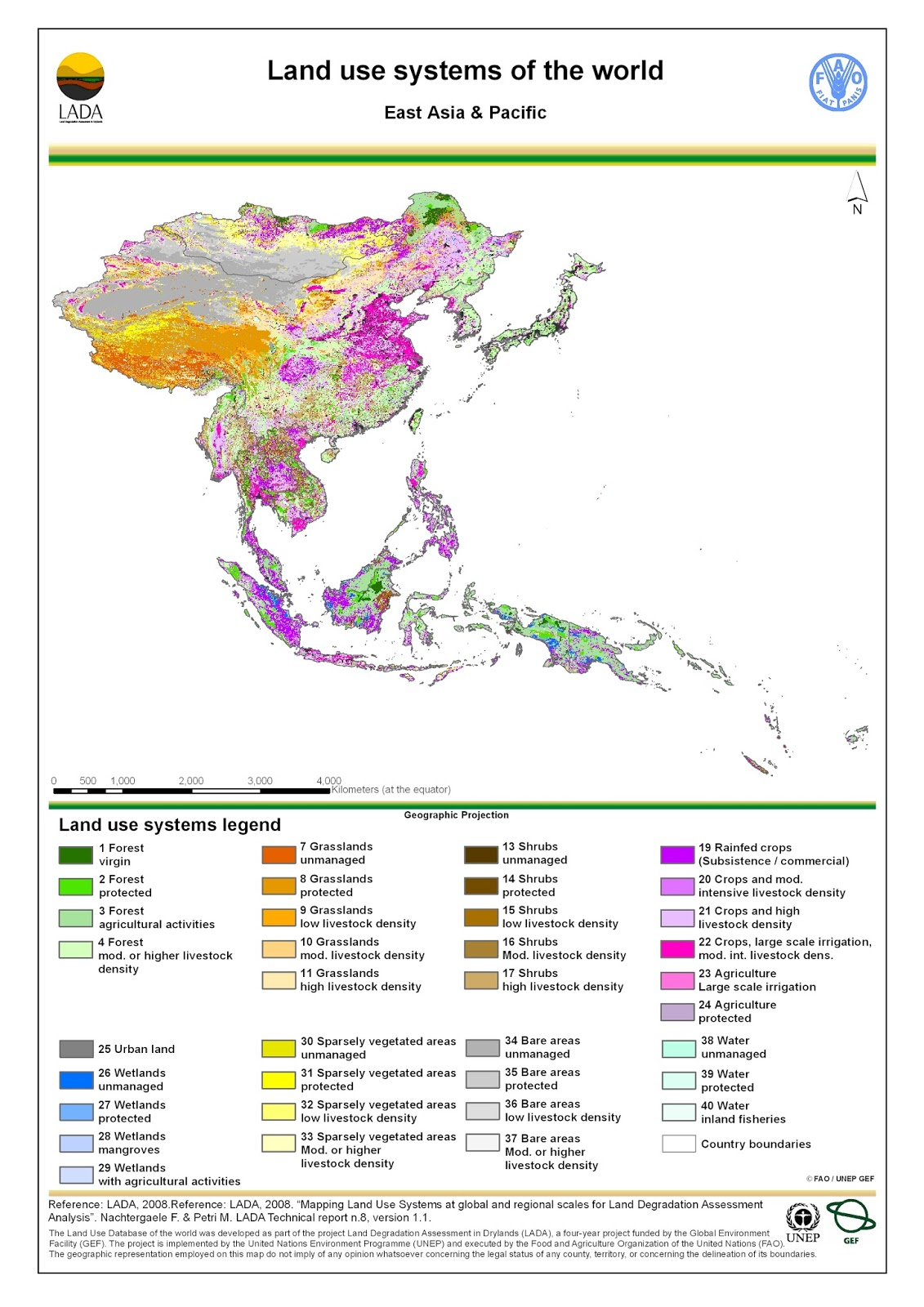 East Asia: Land use map