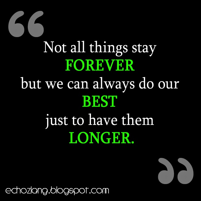 Not all things stay forever but we can always do our best just to have it longer