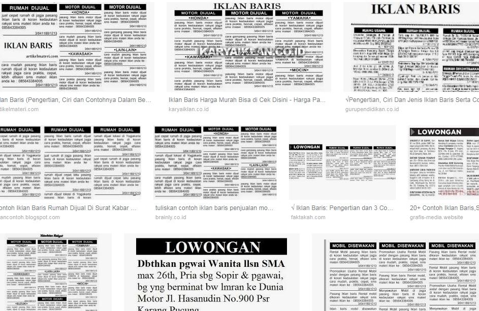Iklan Baris Pengertian Ciri Dan 50 Tumpuan Iklan Baris