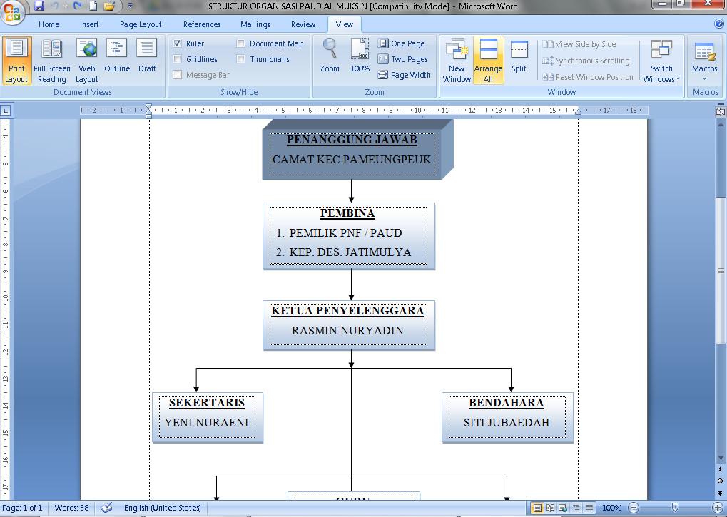Contoh Struktur Organisai Pendidikan Anak Usia Dini (PAUD) Tahun 2016 Format Microsoft Word