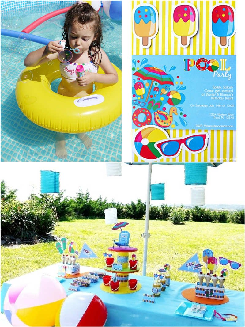 Pool Party Ideas For Kids pool birthday party ideas with printables Pool Party Ideas Printables Kids Summer Birthday Birdspartycom