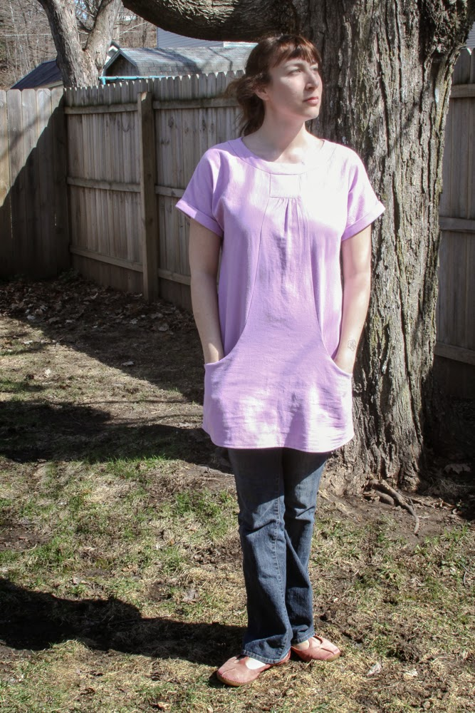 Lisette Portfolio Tunic in Lilac Linen by Anne Butera of My Giant Strawberry