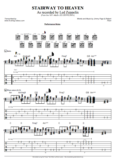 Guitar Tabs: Guitar Tabs and Song Sheets For: Stairway To Heaven