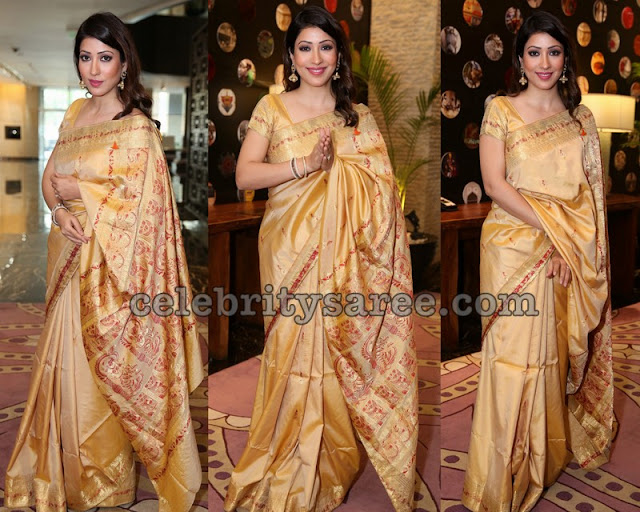 Shivani Sen in Golden Silk Saree