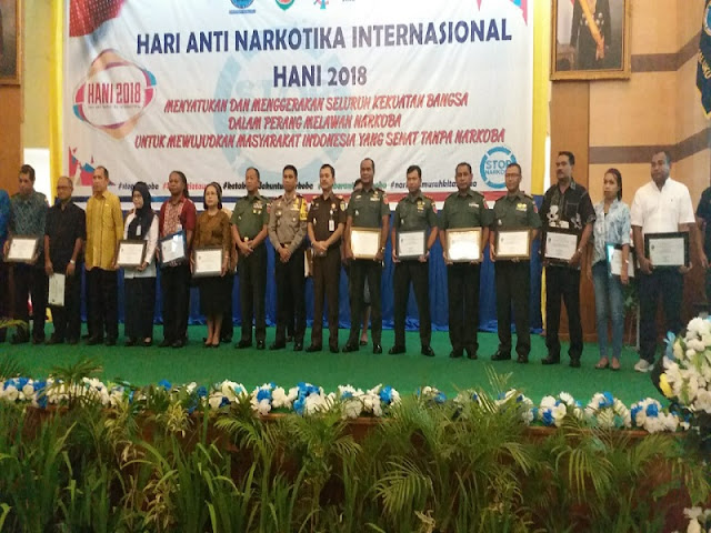 Korem Binaiya Raih Penghargaan Penggiat Anti Narkoba 2018