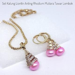 Jual Set Mutiara Lombok Kalung Liontin dan Anting