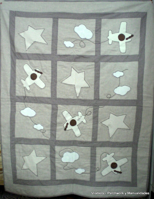 Manta infantil de Patchwork hecho en lino por Rosa en Vilabors