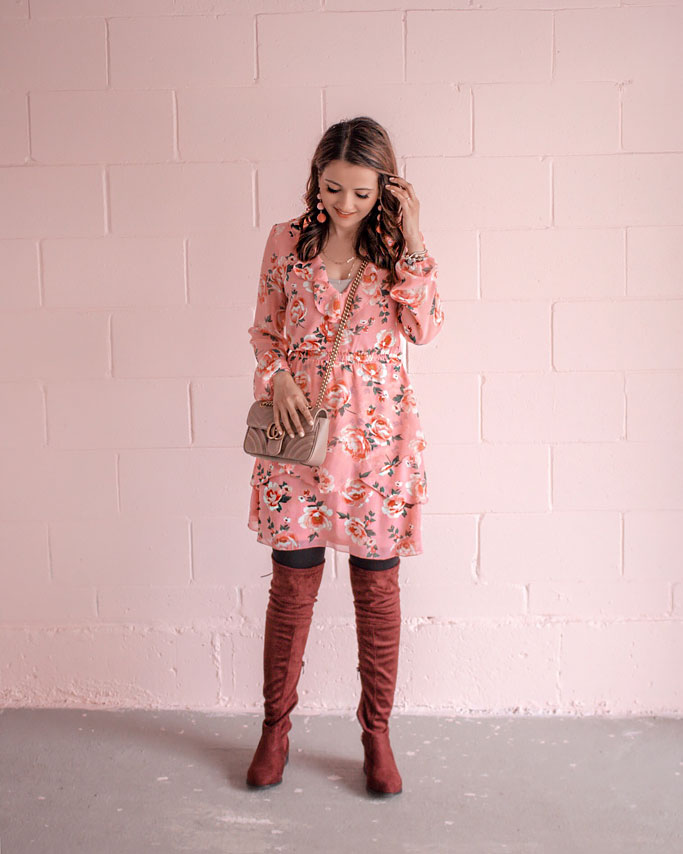 Pink Floral H&M Dress, Gucci Marmont Shoulder Bag, Maroon Thigh Boots Blogger Outfit