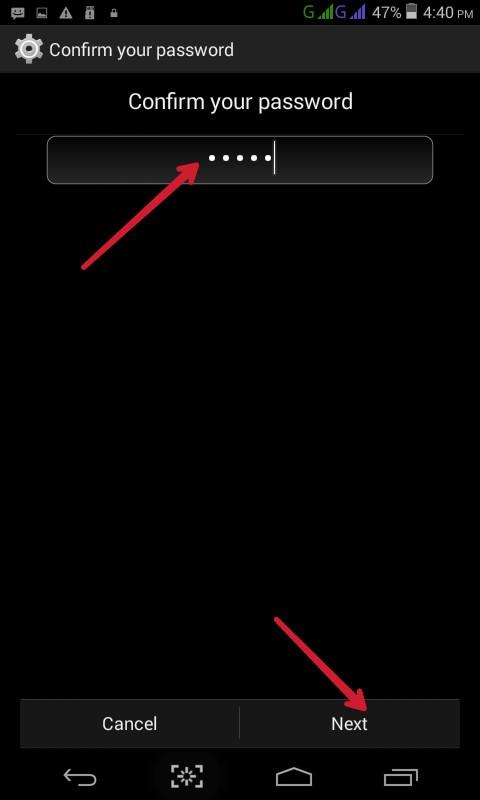 Write screen lock password