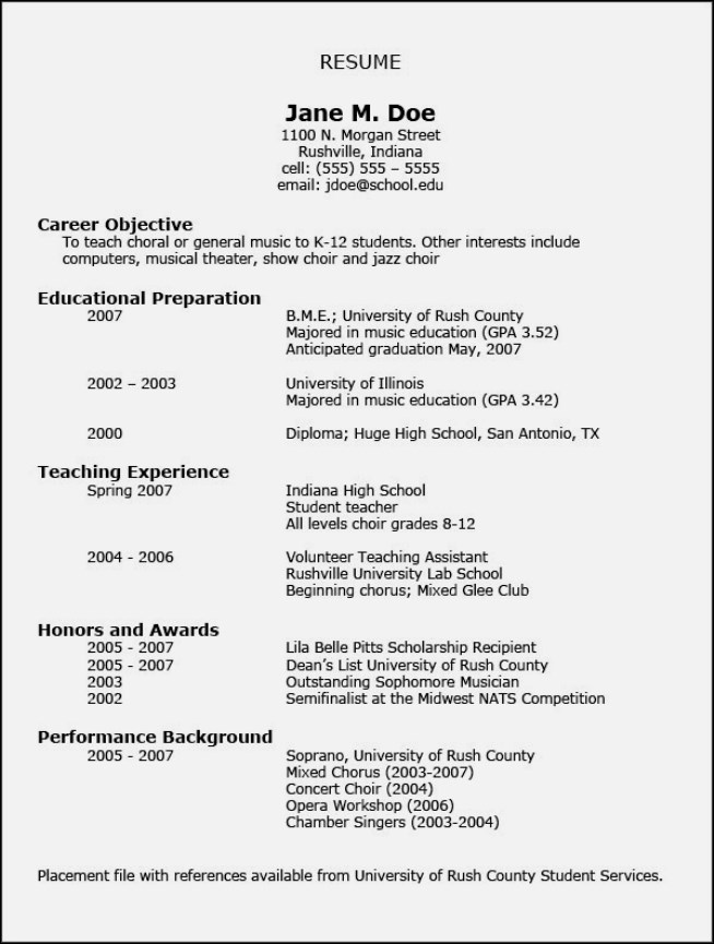format for freshers my resume music resume format performance resume