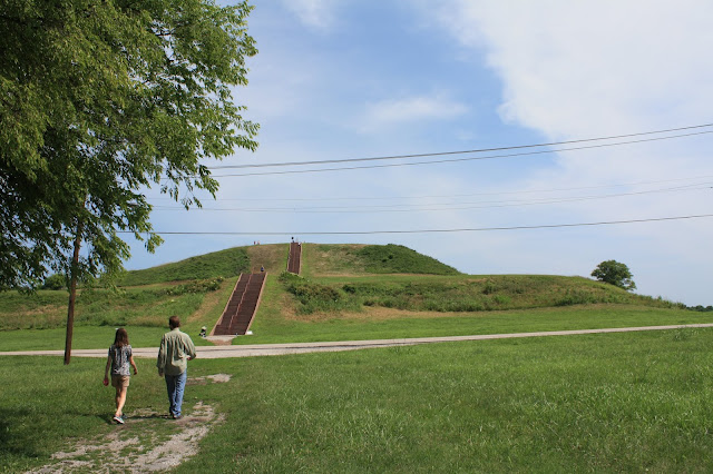 Approaching Monk's Mound the largest prehistoric earthenwork mound in the Americas