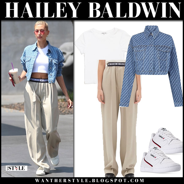 Hailey Baldwin in blue crop top camilla and marc and beige fluid pants celine model street style august 27