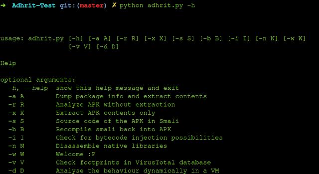 Adhrit - Android APK Reversão e ferramenta de análise