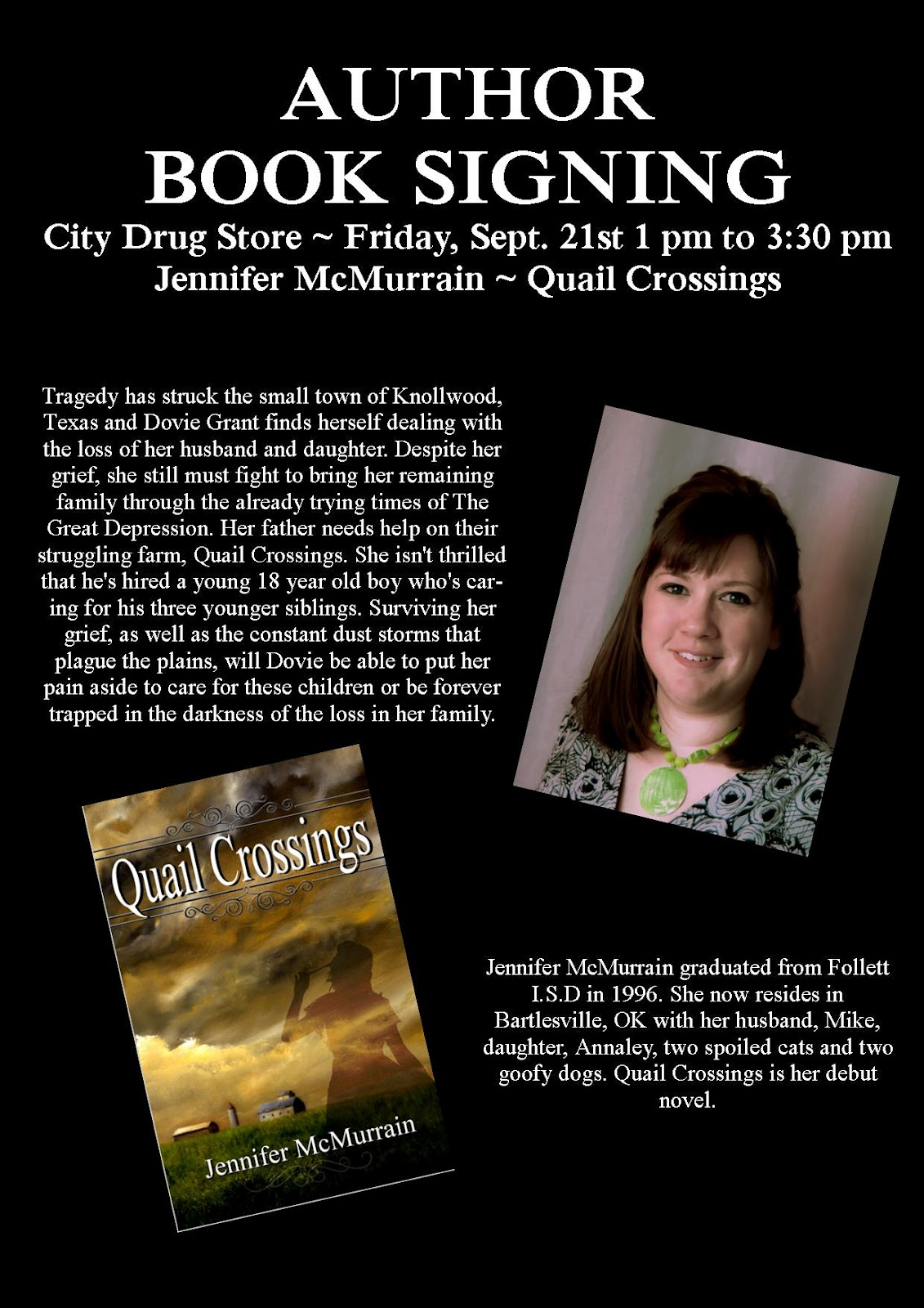 book signing poster template jennifer mcmurrain book signing follett tx