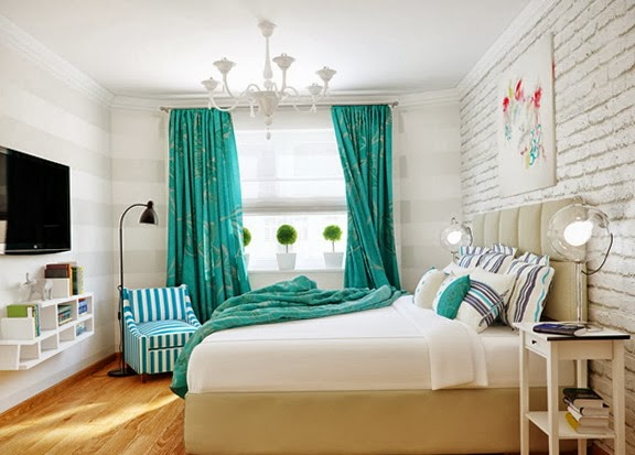 Habitaciones en turquesa y blanco ideas para decorar for Cortinas para dormitorio matrimonial