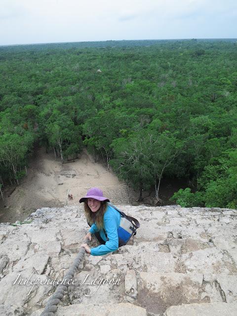 Climbing down the ruins at Coba, Mexico