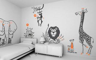 Decoración con vinil para habitaciones de niños tipo Africa con animales