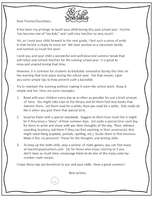 End of Year Parent Letter & Prevent the Summer Slide with Math ...