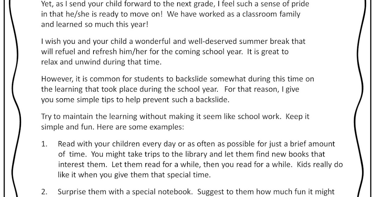 end of year parent letter prevent the summer slide with math