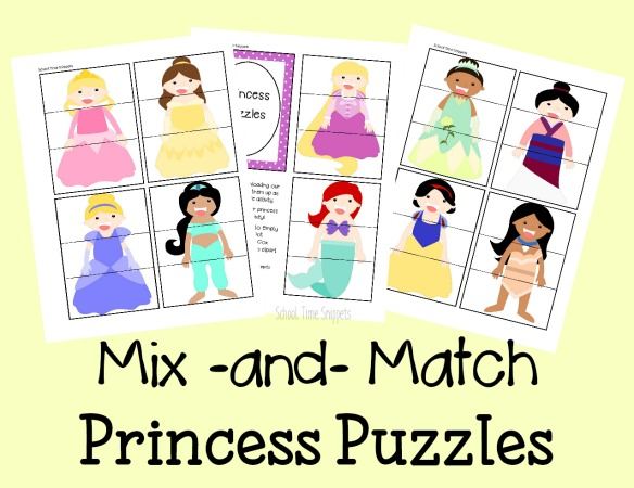 printable princess puzzles activity for kids