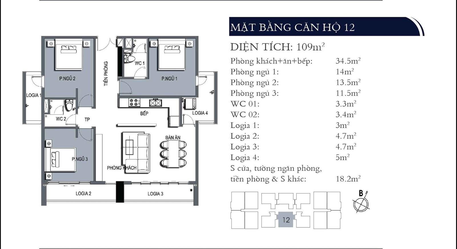 Mặt bằng căn hộ 12 dự án One 18 Ngọc Lâm