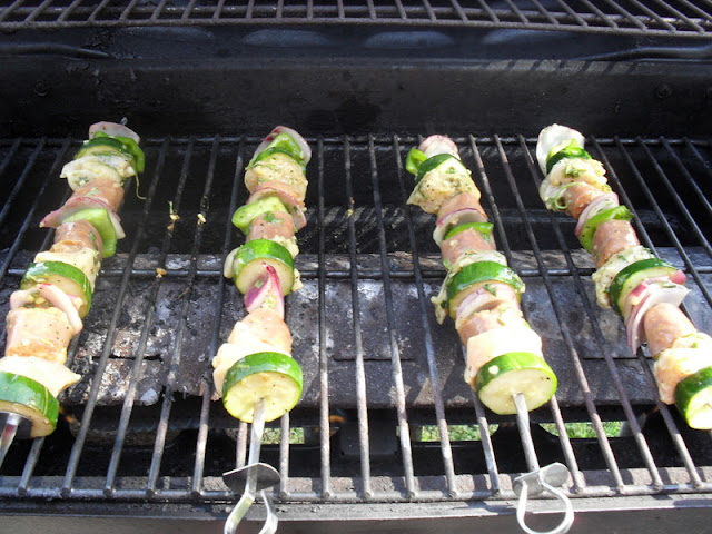 Skewers of Shish Kabob: Chicken, zucchini, onions
