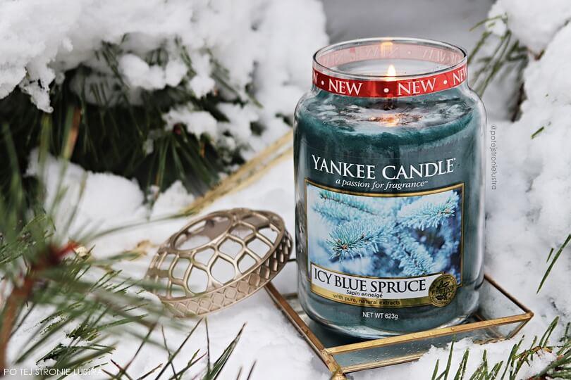 duża świeca yankee candle icy blue spruce zima 2018