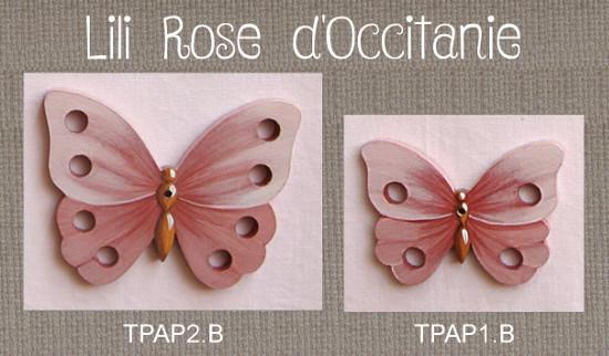 """2 tri-fils bois peint """"Papillon rose"""", pour 4 ou 8 échevettes. Broderie et point de croix"""